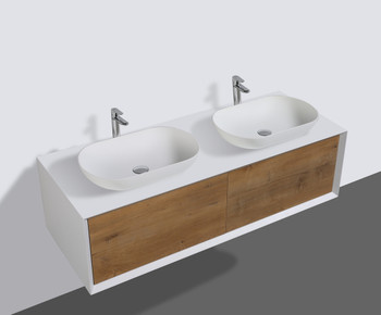 ALMA-FIONA 55″ NATURE WOOD WALL MOUNT VANITY WITH VESSEL SINK