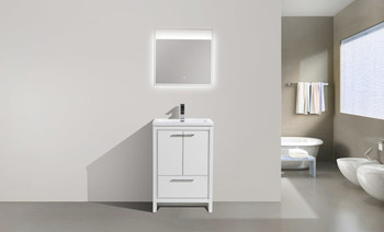 "ALMA-ALLIER 24"" HIGH GLOSS WHITE MODERN VANITY WITH INTEGRATED COUNTERTOP WITH SINK"