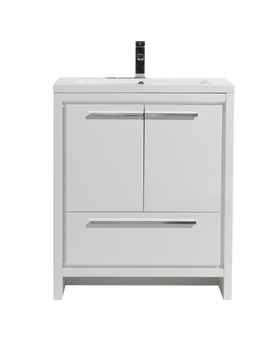 "ALMA-ALLIER 30"" HIGH GLOSS WHITE MODERN VANITY WITH INTEGRATED COUNTERTOP WITH SINK"