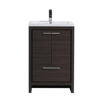 "ALMA-ALLIER 24"" MATT GREY-OAK WHITE MODERN VANITY WITH INTEGRATED COUNTERTOP WITH SINK"