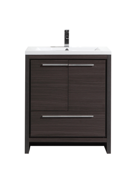"ALMA-ALLIER 30"" MATT GREY-OAK MODERN VANITY WITH INTEGRATED COUNTERTOP WITH SINK"