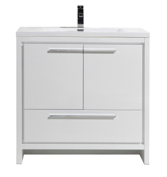 "ALMA-ALLIER 36"" HIGH GLOSS WHITE MODERN VANITY WITH INTEGRATED COUNTERTOP WITH SINK"