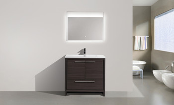 "ALMA-ALLIER 36"" MATT GREY-OAK MODERN VANITY WITH INTEGRATED COUNTERTOP WITH SINK"