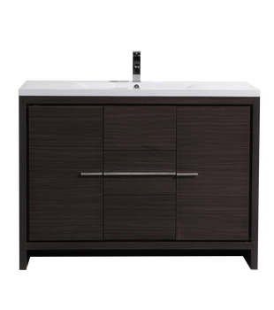 "ALMA-ALLIER 48"" MATT GREY-OAK MODERN VANITY WITH INTEGRATED COUNTERTOP WITH SINK"