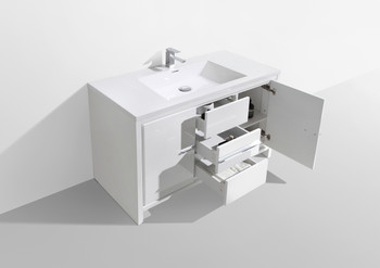 "ALMA-ALLIER 48"" HIGH GLOSSY WHITE MODERN VANITY WITH INTEGRATED COUNTERTOP WITH SINK"