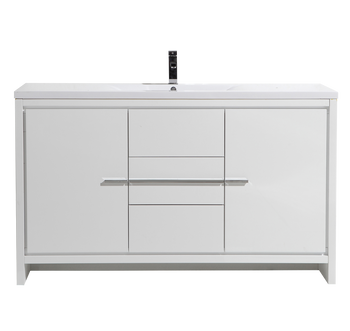 "ALMA-ALLIER 60"" HIGH GLOSS WHITE MODERN VANITY WITH INTEGRATED COUNTERTOP WITH SINK"