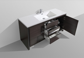 "ALMA-ALLIER 60"" MATT GREY SINGLE SINK VANITY WITH INTEGRATED COUNTERTOP WITH SINK"
