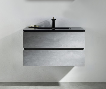 ALMA-EDI 36″ CEMENT GREY WALL MOUNT VANITY WITH BLACK COUNTERTOP
