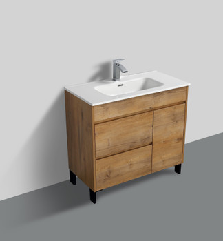 "ALMA GRACE 36"" NATURAL WOOD FINISH VANITY WITH PORCELIAN SINK"