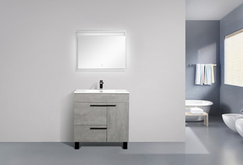 ALMA GILL 36″ CEMENT GREY  VANITY WITH PORCELAIN SINK