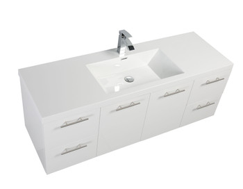 ALMA LUXURY 60″ GLOSSY WHITE WALL MOUNT SINGLE SINK VANITY REINFORCED ACRYLIC COMPOSITE SINK