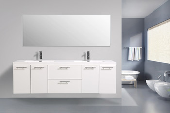 ALMA LUXURY 72″ GLOSSY WHITE  DOUBLE SINK VANITY WITH SINK