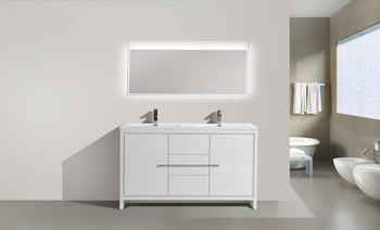 "ALMA-ALLIER 60"" HIGH GLOSS WHITE DOUBLE SINK VANITY WITH INTEGRATED COUNTERTOP"
