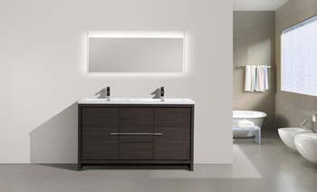"ALMA-ALLIER 60"" MATT GREY -OAK WHITE DOUBLE SINK VANITY WITH INTEGRATED COUNTERTOP"
