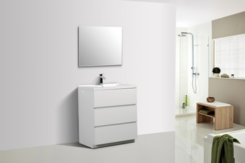 ALMA-EDISON 30″ GLOSS WHITE MODERN BATHROOM VANITY W/ 3 DRAWERS AND ACRYLIC SINK