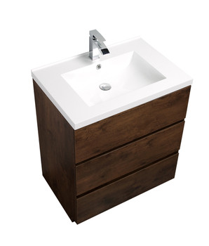 ALMA-EDISON 30″ ROSEWOOD MODERN BATHROOM VANITY W/ 3 DRAWERS AND ACRYLIC SINK