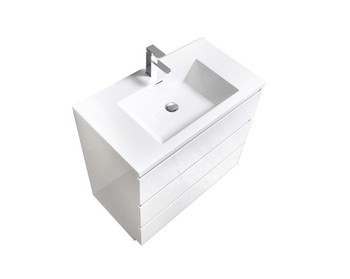 ALMA-EDISON 36″ GLOSS WHITE MODERN BATHROOM VANITY W/ 3 DRAWERS AND ACRYLIC SINK