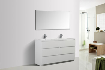 ALMA-EDISON 60″ GLOSS WHITE DOUBLE SINK VANITY