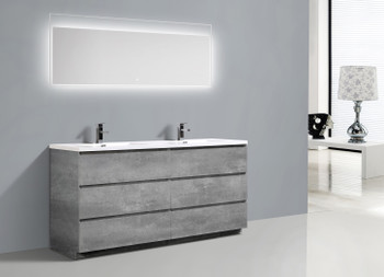 """Alma-Edison 72"""" Cement Grey Double Sink vanity with Integrated sink"""