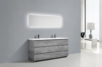 Alma-Edison 60″ Cement Grey Double Sink vanity with integrated sink