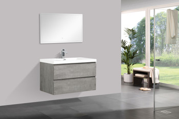 ALMA-PRE 36″ CEMENT GREY WALL MOUNT VANITY WITH WHITE SINK