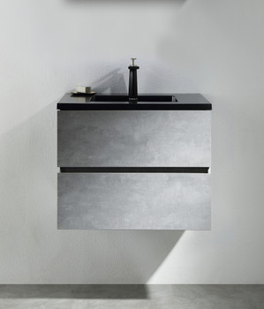 ALMA-EDI 24″ CEMENT GREY WALL MOUNT VANITY WITH BLACK COUNTERTOP