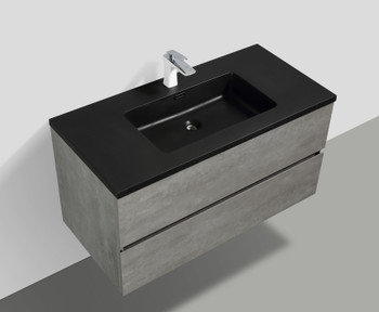 ALMA-EDI 40″ CEMENT GREY WALL MOUNT VANITY WITH BLACK COUNTERTOP