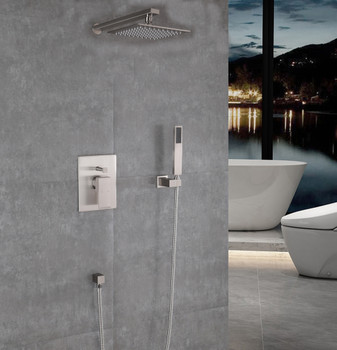 Alma Empolo Shower set  W/ 8″ Shower Head with Hand Shower / Brush Nickel Finish
