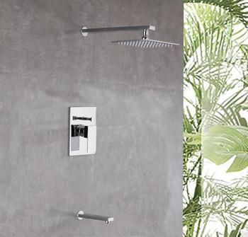 Alma Empolo Shower Set  W/ 8″ Square Rain Shower Head and Tub Filler/Chrome Finish