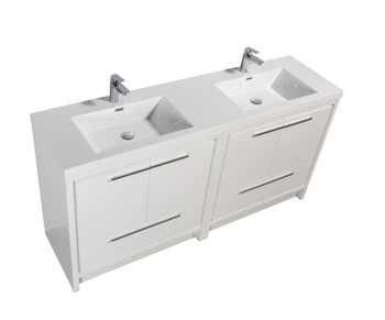 Alma Allier 72 inch Gloss White Vanity With White Sink