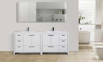 "ALMA-ALLIER 84"" HIGH GLOSS WHITE VANITY WITH INTEGRATED COUNTERTOP WITH SINK"