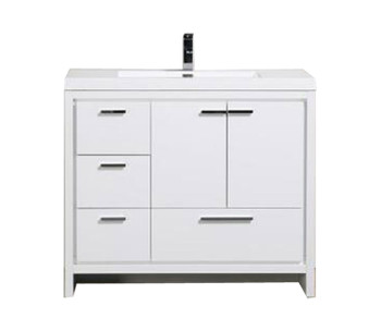 "ALMA-ALLIER 42"" HIGH GLOSS WHITE VANITY WITH INTEGRATED SINK / LEFT SIDE DRAWERS"