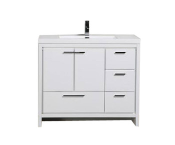 "ALMA-ALLIER 42"" HIGH GLOSS WHITE VANITY WITH INTEGRATED SINK / RIGHT SIDE DRAWERS"