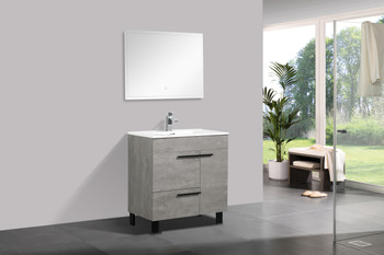 ALMA GILL 32″ CEMENT GREY VANITY WITH PORCELAIN SINK
