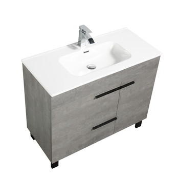 ALMA GILL 40″ CEMENT GREY VANITY WITH PORCELAIN SINK