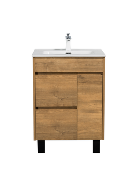"ALMA GRACE 24"" NATURAL WOOD FINISH VANITY WITH PORCELIAN SINK"