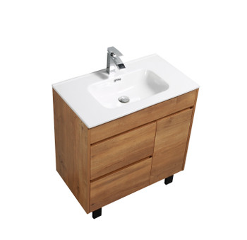 "ALMA GRACE 32"" NATURAL WOOD FINISH VANITY WITH PORCELIAN SINK"