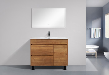 "ALMA GRACE 40"" NATURAL WOOD FINISH VANITY WITH PORCELIAN SINK"