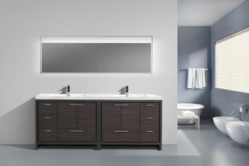"ALMA-ALLIER 84"" GREY-OAK  VANITY WITH INTEGRATED COUNTERTOP WITH SINK"