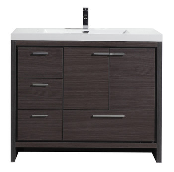 "ALMA-ALLIER 42"" GREY-OAK  VANITY WITH INTEGRATED SINK / LEFT SIDE DRAWERS"