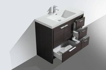 "ALMA-ALLIER 42"" DARK GREY OAK  VANITY WITH INTEGRATED SINK / RIGHT SIDE DRAWERS"