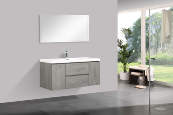 ALMA-PRE 48″ CEMENT GREY WALL MOUNT VANITY WITH WHITE SINK