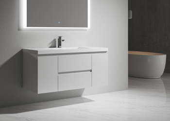 ALMA-PRE 48″ GLOSS WHITE WALL MOUNT VANITY WITH WHITE SINK