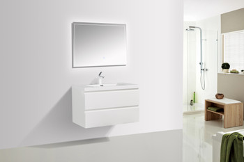 ALMA-PRE 36″ GLOSS WHITE WALL MOUNT VANITY WITH WHITE SINK