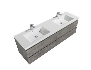 ALMA-PRE 72″ CEMENT GREY WALL MOUNT VANITY WITH WHITE SINK