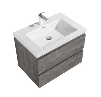 ALMA-PRE 30″ CEMENT GREY WALL MOUNT VANITY WITH WHITE SINK