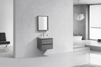 ALMA-PRE 24″ CEMENT GREY WALL MOUNT VANITY WITH WHITE SINK