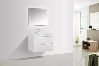 ALMA-PRE 30″ GLOSS WHITE WALL MOUNT VANITY WITH INTEGRATED SINK