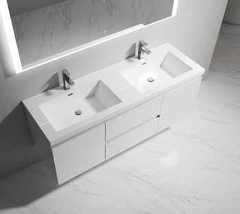 ALMA-PRE 60″ GLOSS WHITE DOUBLE SINK VANITY WITH INTEGRATED SINK