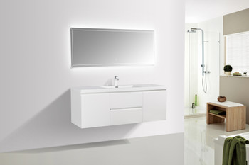 ALMA-PRE 60″ GLOSS WHITE SINGLE SINK VANITY WITH INTEGRATED SINK